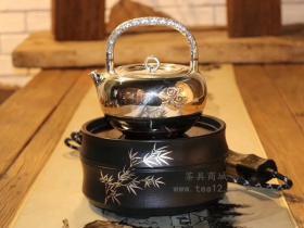 莺歌烧电陶炉黑色竹节搭配李小白银壶银环祥云真美