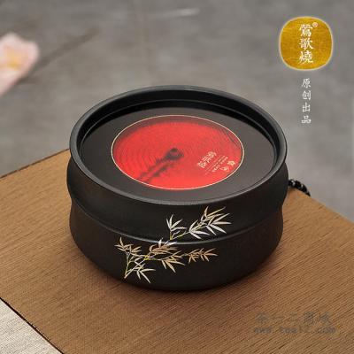 台湾莺歌烧黑底银竹竹节电陶炉
