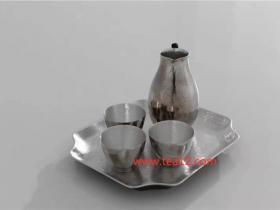 纯银手工锤纹银酒壶配光面纯银酒杯