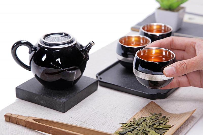 台湾晓宇茶器  墨玉鎏银茶器