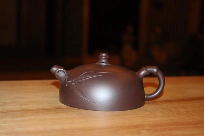 范君华紫砂壶黑料贴竹叶系列