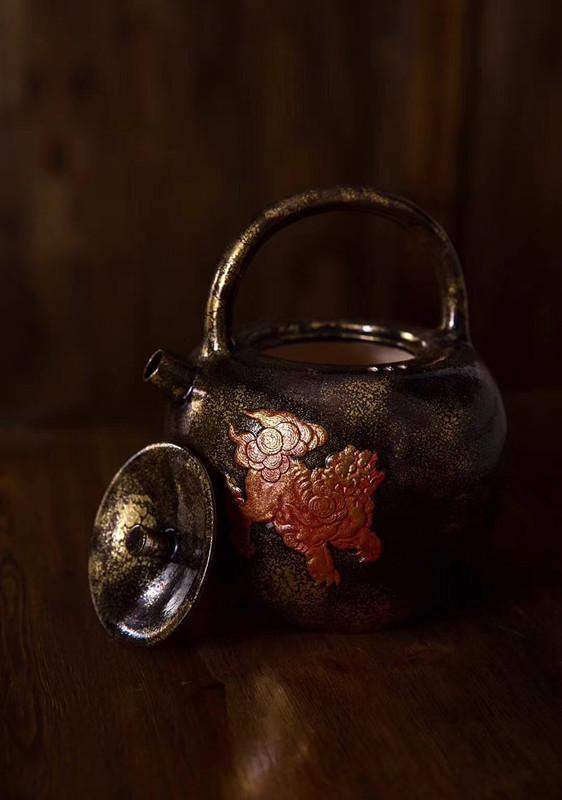 范年丰大师24k纯金熏金壶