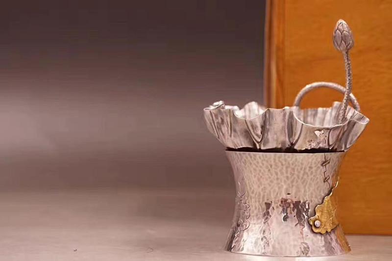 李小白银壶荷叶茶漏