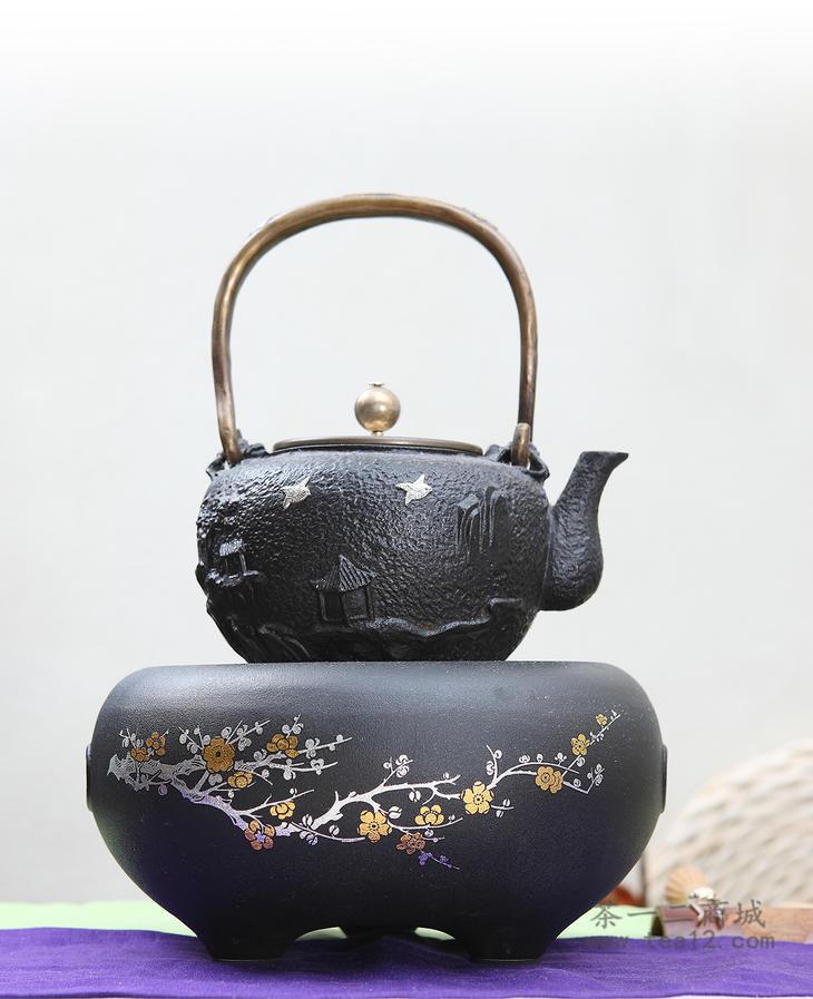 台湾莺歌烧黑底错金银梅花电陶炉