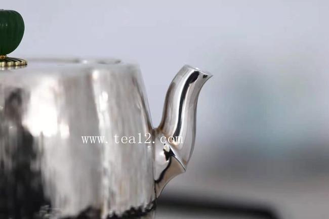 银壶纯银纯手工打造作品:海棠竹泡茶银壶大师作
