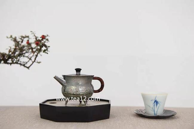 银壶纯银纯手工作品:饕餮纹爵式泡茶银壶