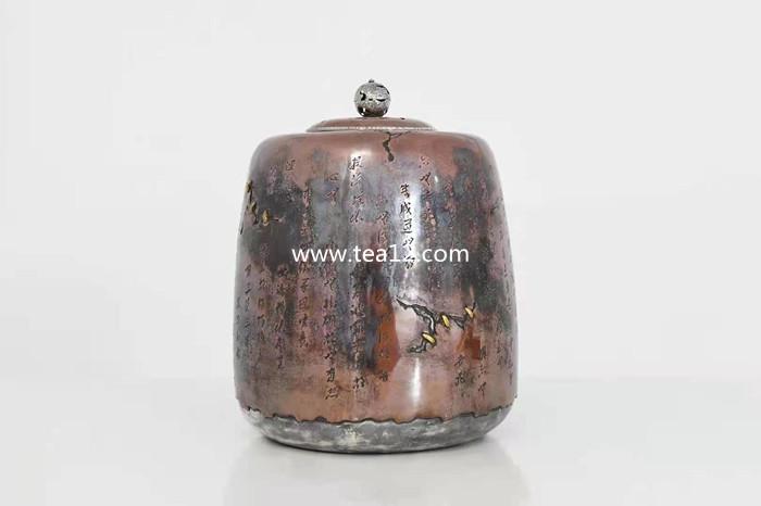 纯银水缸纯手工心经锔钉铜包银缸,茶室必备