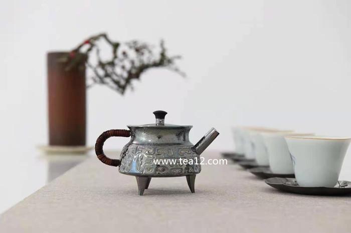 银壶纯银纯手工长思盉式饕餮纹泡茶银壶