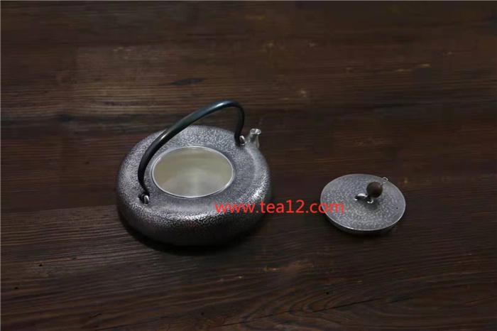 银壶纯手工锤纹扁形煮茶壶