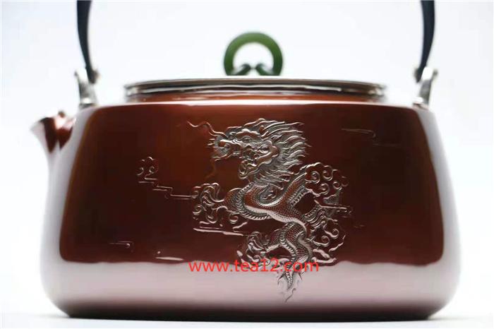 银壶龙纹铜包银烧水壶图片